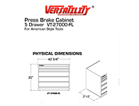 Physical Dimensions for 4, 5-Drawer Press Brake Tool Cabinet